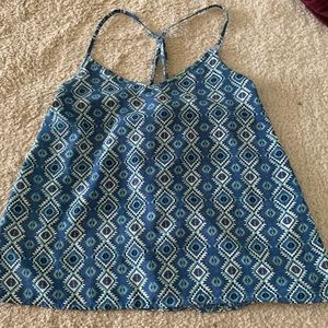 Blue Patterned Tank Top from Hollister